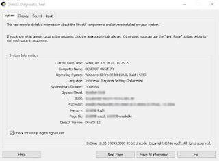 cara cek spesifikasi laptop melalui DxDiag
