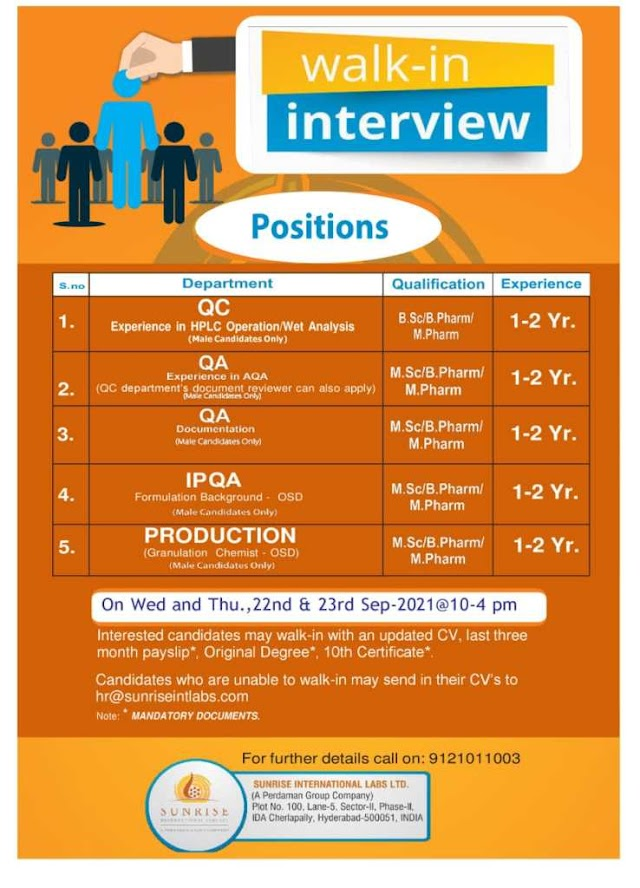 Sunrise Labs | Walk-in interview for Production/QC/QA on 22nd to 23rd Sept 2021