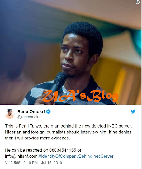 Reno Reveals: This Is Femi Taiwo, The Man Allegedly Behind The Now Deleted INEC Server.