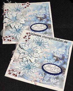 Vintage Geburtstagskarte mit Weihnachtssternen Stampin' Up!