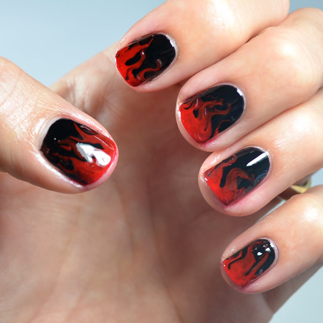 Go Polished: Dry Marble Flame Nail Design
