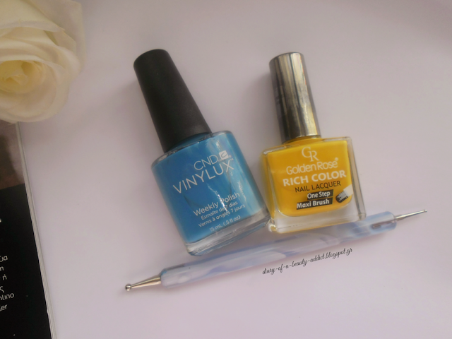 CND Vinylux Weekly Nail Polish  #192 Reflecting Pool ,Golden Rose Rich Color Nail Lacquer No48 , Dotting tool