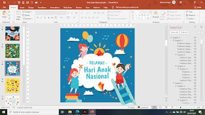 Template PowerPoint (PPT) Gambar Ucapan Selamat Hari Anak Nasional | GRATIS... Siap Pakai Tinggal Edit