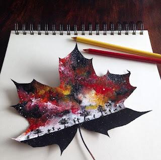 foglie dipinte con colori acrilici - quadri d'autore unici