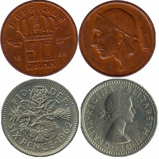 Belgian 50 centimes English sixpence