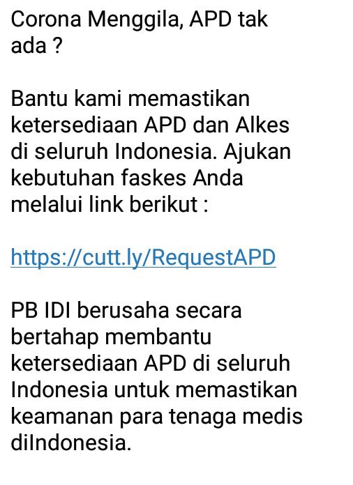 PB IDI berusaha secara bertahap membantu ketersediaan APD di seluruh Indonesia