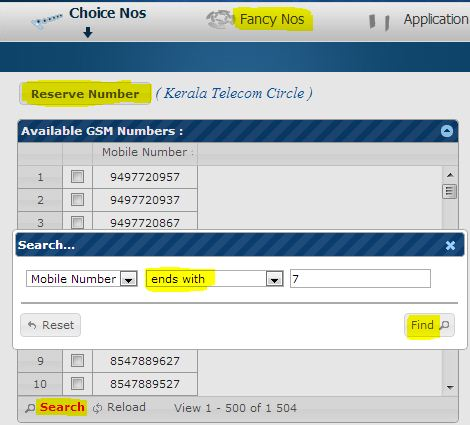 Reserve book for a fancy bsnl mobile number