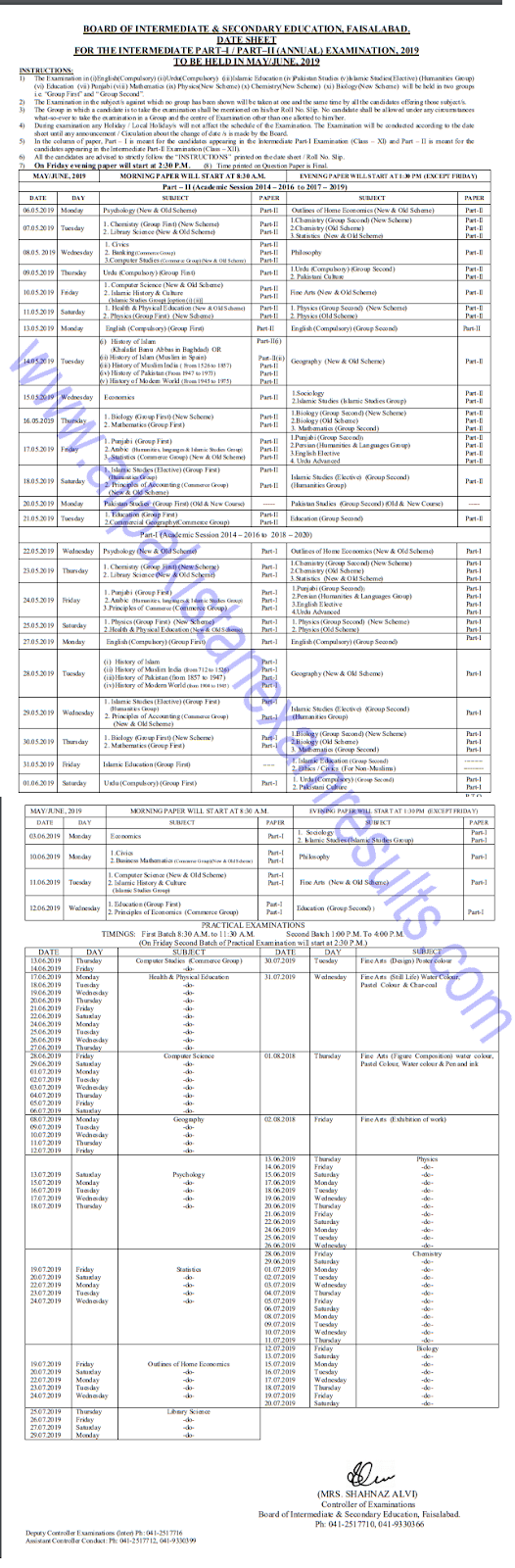 BISE Faisalabad Board 12th Class Date Sheet 2019