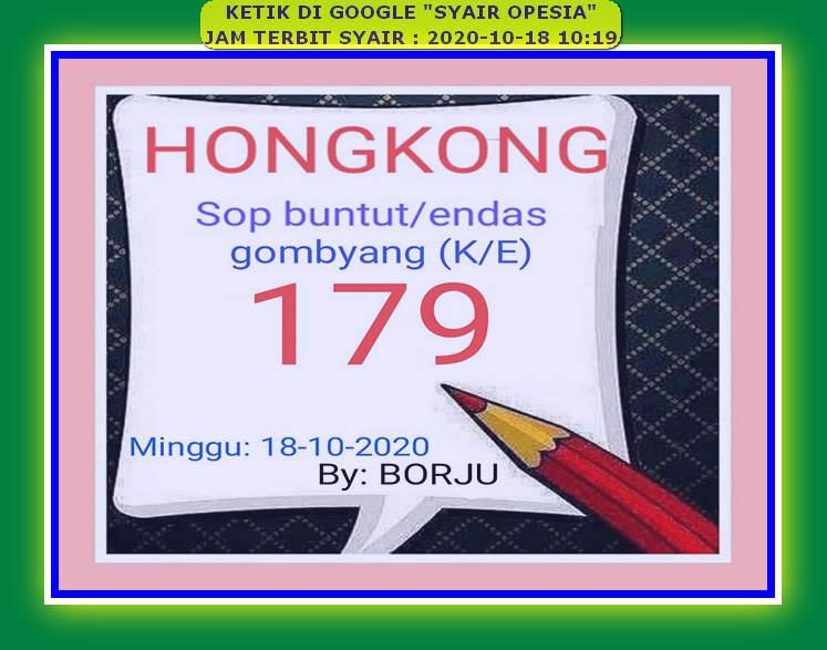 Kode syair Hongkong Minggu 18 Oktober 2020 147