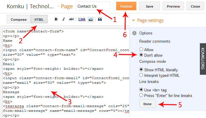 add contact from code in blogger page
