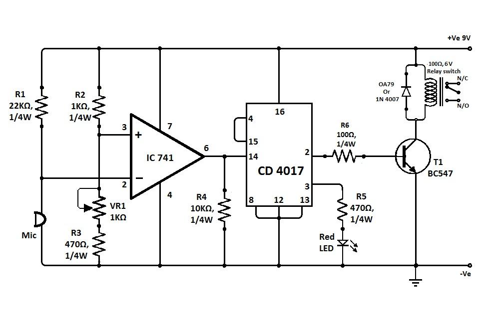skema rangkaian sakelar tepuk ic741 dan cd4017
