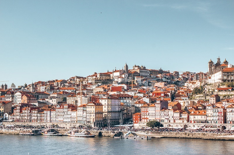 The hillside view of Porto Portugal