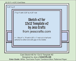 Card Sketch 2 for 12x12 Paper Cutting Template #2 by Jess Crafts