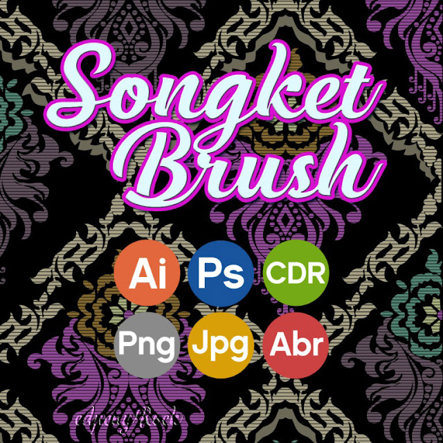 Indonesian Songket brush pattern for Photoshop, available in Vector Ai, CDR, PNG, Jpg editable
