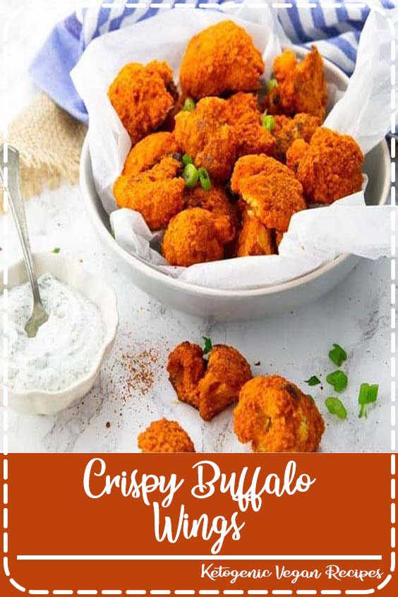 These cauliflower buffalo wings with vegan ranch dip are the perfect vegan comfort food Crispy Buffalo Wings