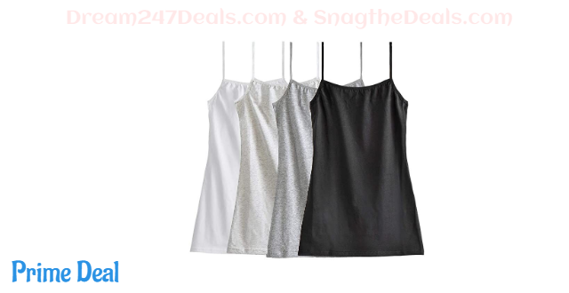 35%OFF Big Girl's Cotton Cami Adjustable Spaghetti Strap Tank Top (Pack of 4)
