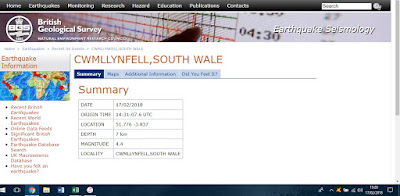 screenshot of British Geological Survey's webpage with details of earthquake location