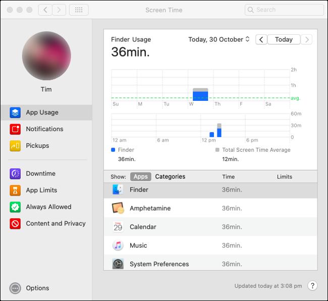 """إحصائيات وقت الشاشة """"استخدام التطبيق"""" في macOS Catalina."""
