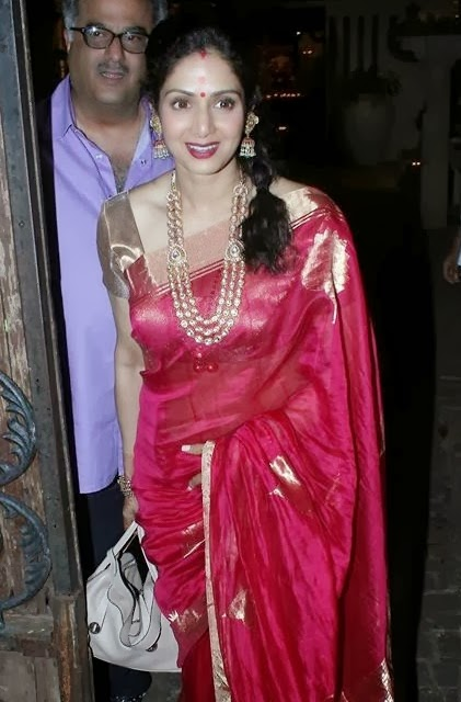 Bollywood Glamours Actress Sridevi 2016 Photos In Traditional Red Saree