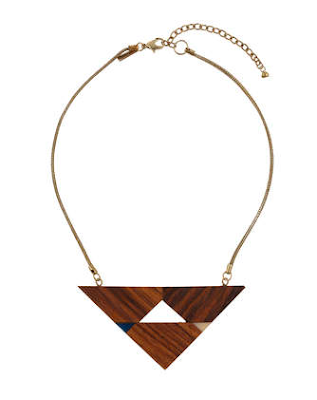 Geometric wooden necklace Topshop