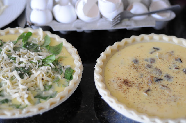 two filled pie crusts with fillings and eggs