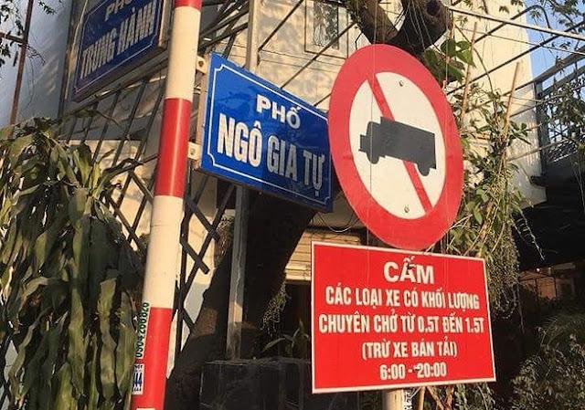biển cấm xe tải vào nội đô