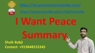 I Want Peace Summary