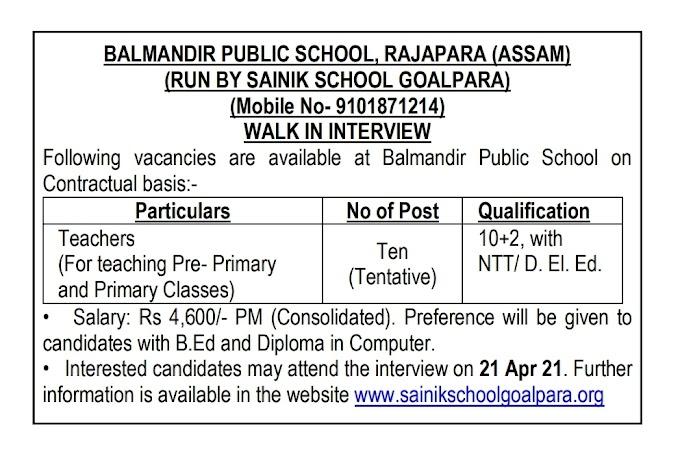 Sainik School, Goalpara Recruitment 2021 Teacher – 10 Posts www.sainikschoolgoalpara.org Last Date 21-04-2021 – Walk in