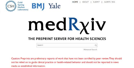 medRxiv, repositorio de pre-prints para Ciencias de la Salud