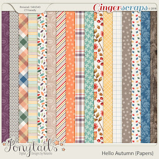 Creative Team, Annemarie, for GingerScraps – Buffet Goodies for September (Save 50%) -Hello Autumn Bundle, Ponytails Designs  with Coordinating Freebie and September 2018 Mix It Up Challenge