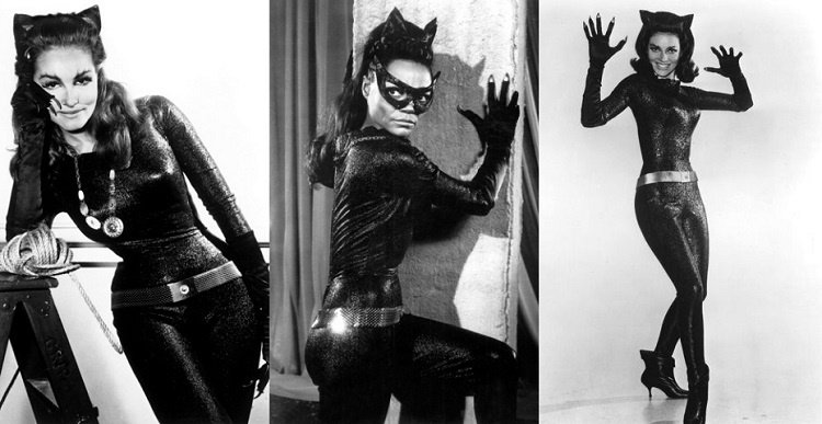Three side by side images each showing a black and white image of the Catwoman character in black lurex suit gold belt and necklace