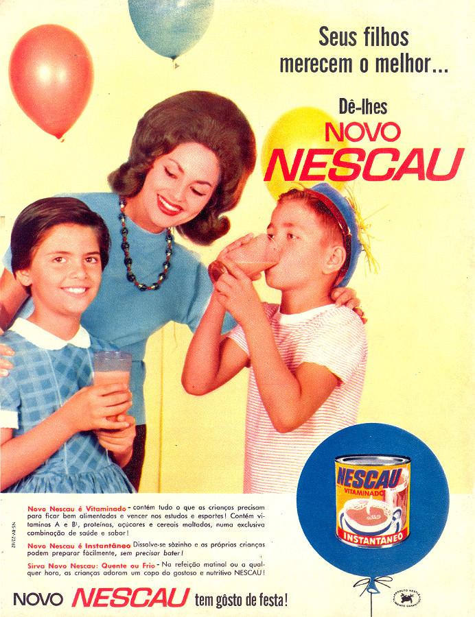 Nescau em sua nova embalagem e fórmula apresentado em 1963