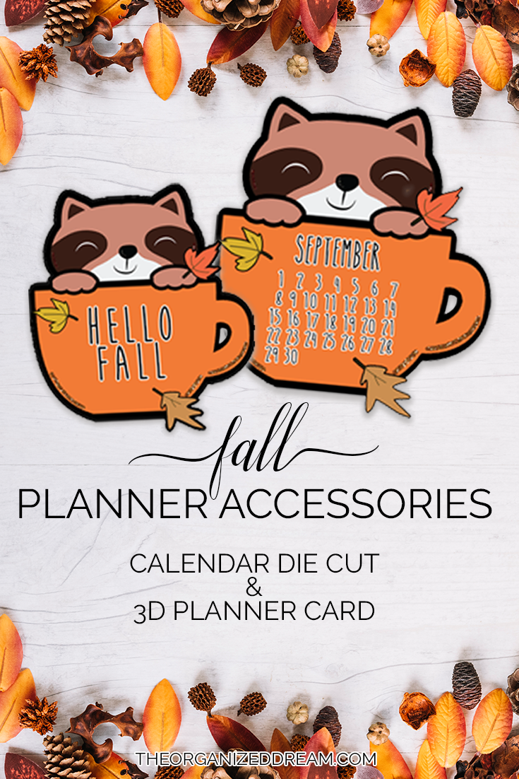 Fall Planner Accessories - September Calendar and 3D Planner Card. #plannergirl #planning #accessories