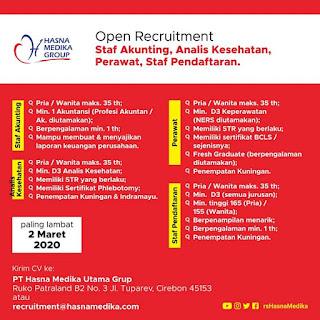 Open Recruitment Staf Akunting, Analis Kesehatan, Perawat, Staf Pendaftaran Hasna Medika Group