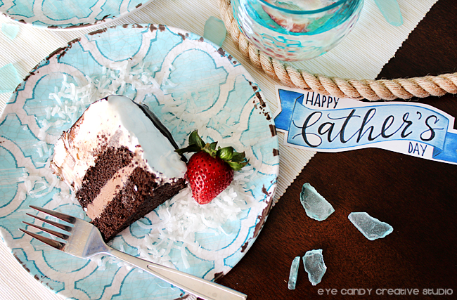 slice of cake, happy father's day banner, cold stone, ice cream cake
