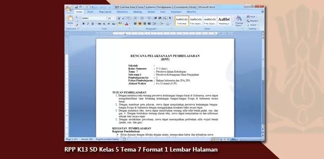 RPP K13 SD Kelas 5 Tema 7 Format 1 Lembar Halaman