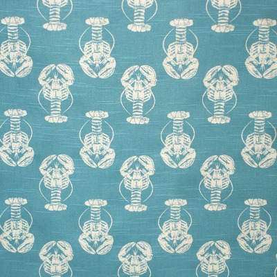 Turquoise Blue Lobster Print Fabric