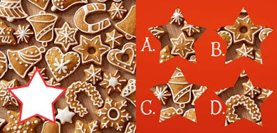 Figure: Who doesn't love Christmas cookies? Can you find the right piece to complete this tasty picture?