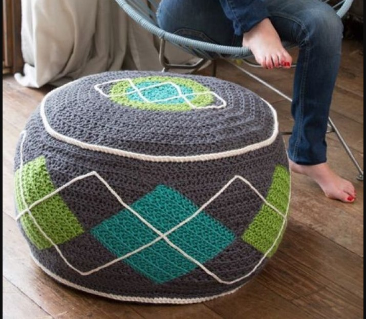 order best cute round table with  calm blend colours crochet pouf for sofa corner
