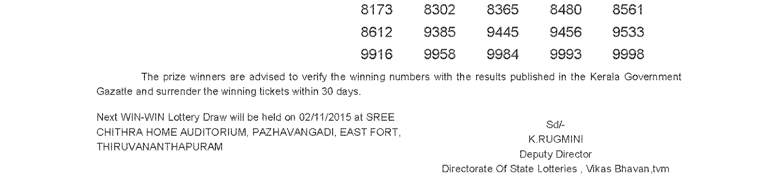 WIN WIN Lottery W 331 Result 26-10-2015