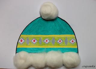 czapka zielona ozdobiona watą