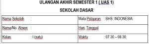 Soal UAS 1 2017/2018 Bahasa Indonesia Kelas 1 SD MI dan Kunci Jawaban