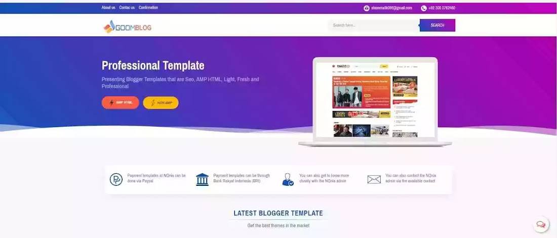 Goomsite Pro Purple AMP - Premium Blogger Template Free Download.