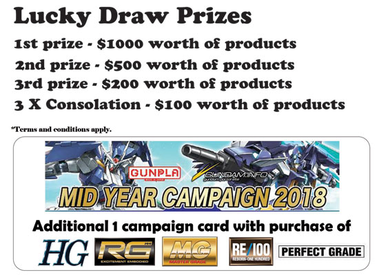 Gunpla Expo 2018 Singapore Lucky Draw prizes