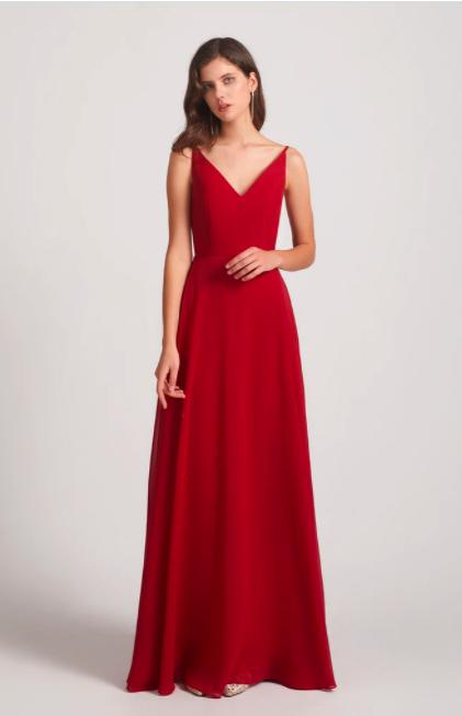 Ruched V-neck Spaghetti Straps Sleeveless Chiffon Bridesmaid Dresses