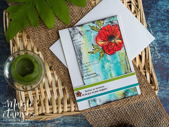 Carte  mixed media Stampin' Up! avec essence florale