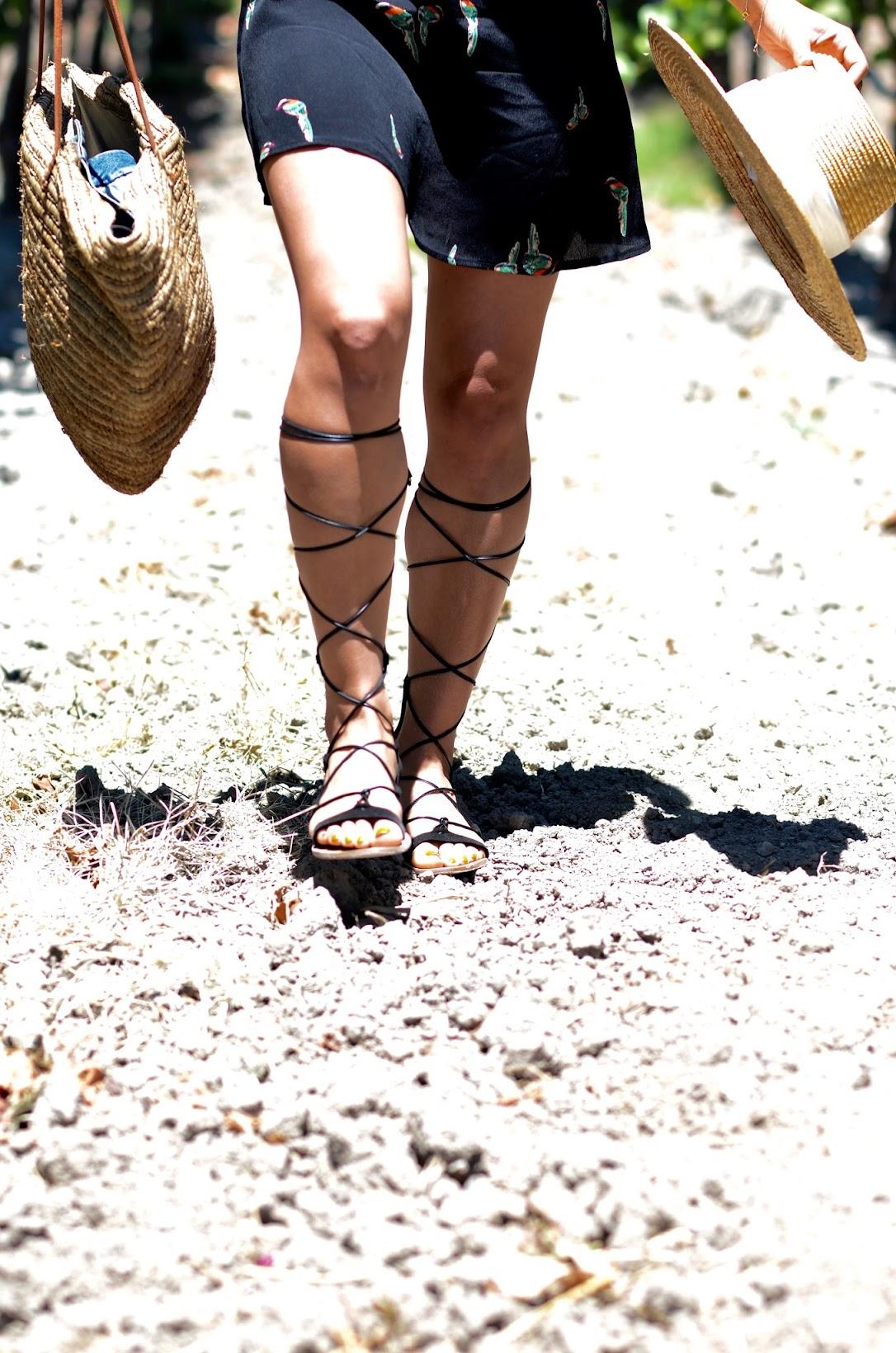 Napa Wine Valley, Reformation dress, ref babe, summer style, chic summer style, cute summer style, gladiator sandals, straw tote, straw summer hat