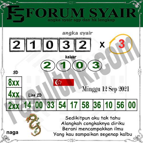 Forum Syair SGP Minggu 12 September 2021