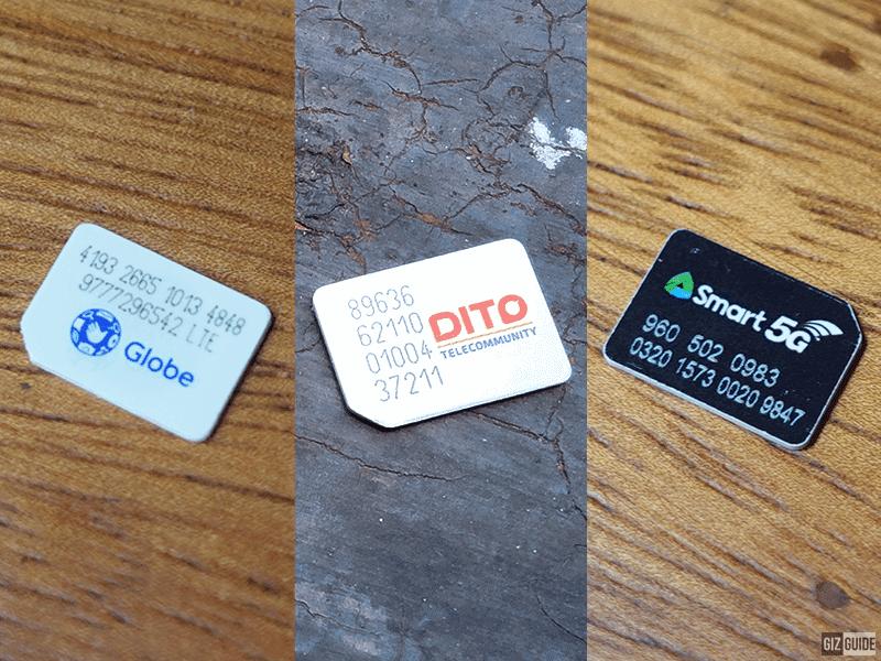 File photo: Globe, DITO, and Smart SIM cards