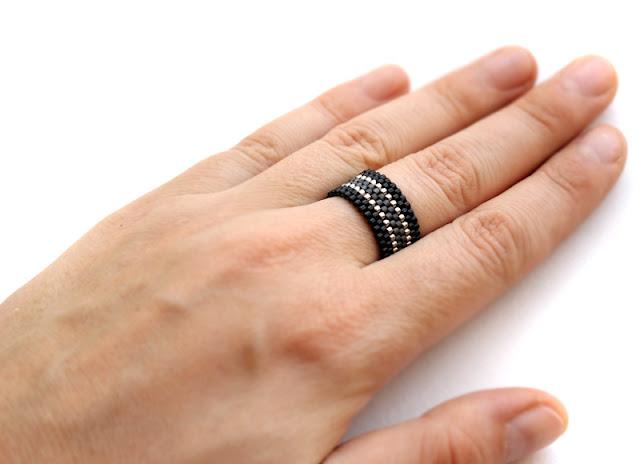 купить модное кольцо необычного дизайна бисерная бижутерия готика минимализм